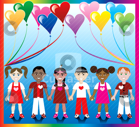 Heart Balloon Kids 1 stock vector clipart, Vector Illustration of 10 Heart balloons with a colorful backgound and kids holding hands with Love colors and Hearts. by Basheera Hassanali