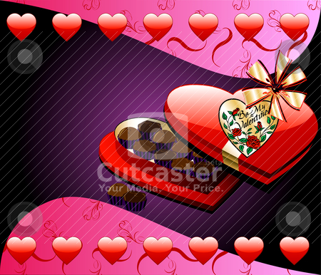 Heart Chocolate Box stock vector clipart, Vector Valentine Background with Heart Box of Chocolate candy. by Basheera Hassanali