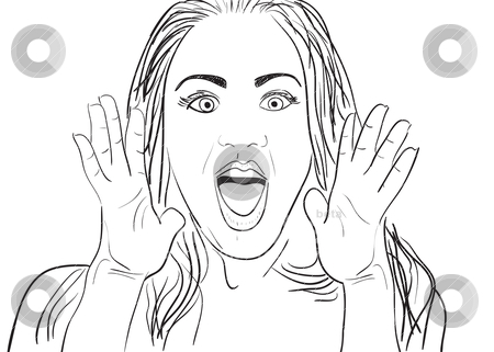 Surprised Woman stock vector clipart, A cartoon vector drawing of a surprised or amazed woman. by Todd Arena