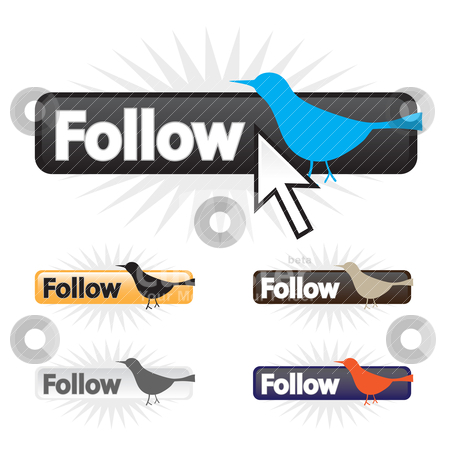 Follow Bird Icons stock vector clipart, Social bird follow icons in a fully editable vector format. by Todd Arena