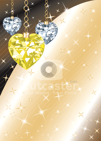 Diamond Heart Background stock vector clipart, Golden Diamond or Crystal Heart Background with stars. There is space for text or image. by Basheera Hassanali
