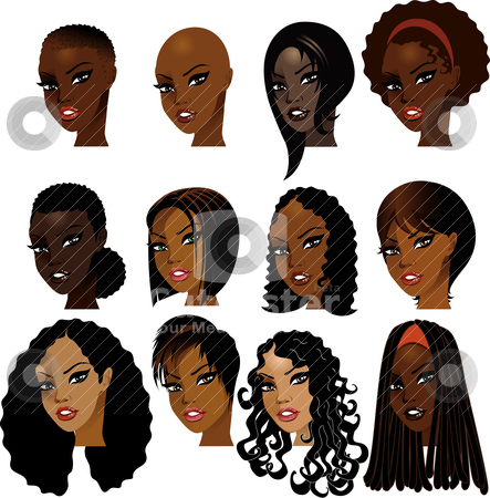 Black Women Faces stock vector clipart, Vector Illustration of Black Women Faces. Great for avatars, makeup, skin tones or hair styles of African women. by Basheera Hassanali