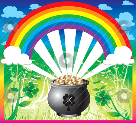 St. Patrick's Day Rainbow stock vector clipart, Vector Illustration of pot of gold rainbow with a colorful backgound and a place for text or imagery. by Basheera Hassanali