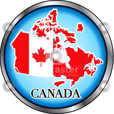 Canada Button stock vector clipart, Vector Illustration for Canada, Round Button. Used Didot font. by Basheera Hassanali
