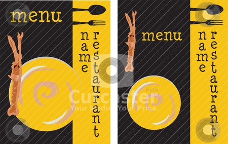 Seafood restaurant menu stock vector clipart, Template menu design for seafood restaurant (with variant), showing a prawn with a raku-style dish on a yellow and black background by Dario Tesoroni