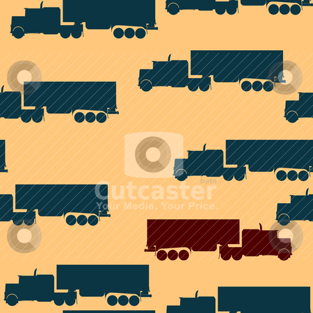 Truck pattern stock vector clipart, Pattern with big truck silhouette by Richard Laschon