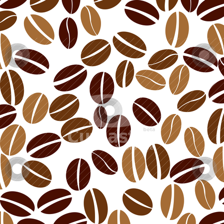 coffee beans stock vector clipart, Seamless background with coffee beans by Richard Laschon