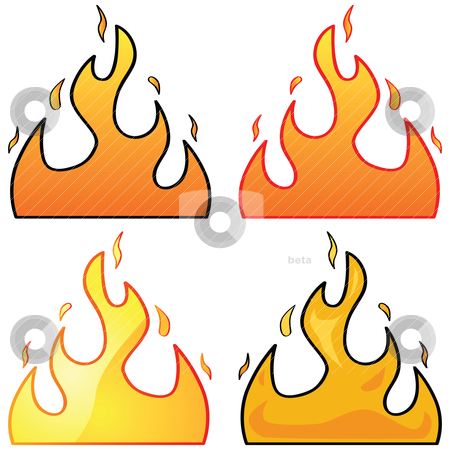 Flames stock vector clipart, Set with four different styles of flame illustrations by Bruno Marsiaj