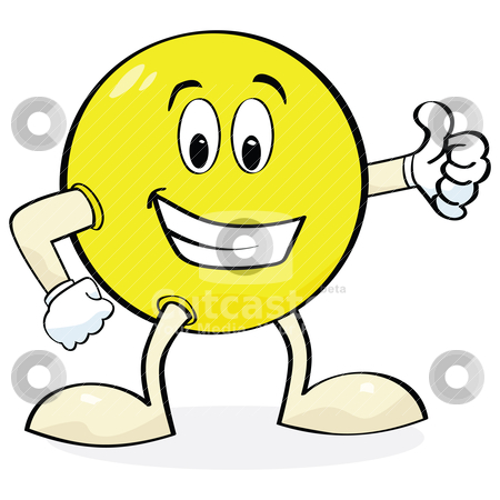 Cartoon giving thumbs up stock vector clipart, Cartoon illustration of a happy face with hands and legs showing a 'thumbs up' sign by Bruno Marsiaj