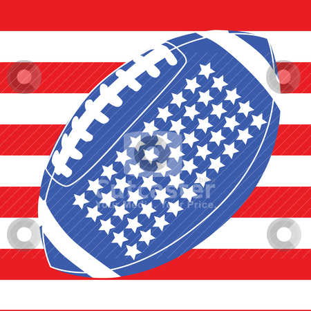 USA football flag 1 stock vector clipart, Concept illustration with an American football over the United States flag by Bruno Marsiaj