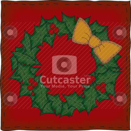 Folk Art Christmas Wreath stock vector clipart, The background banner and wreath are grouped individually.   File contains simple 10-step blends and linear gradients. by Neeley Spotts