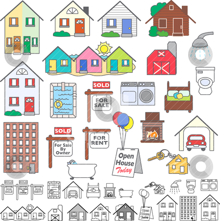Real Estate  Rent on Real Estate Icons Stock Vector Clipart  A Set Of 21 Colored Icons And