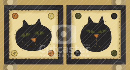 Two Little Cats stock vector clipart, Two framed cats in primitive folk art style  File utilizes simple 8-step blends by Neeley Spotts