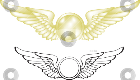Pilot Wings stock vector clipart, A vector illustration of gold pilot wings. Two versions are included. The gold version uses gradient mesh. by Neeley Spotts