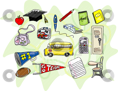 Sketchy Back to School Icons stock vector clipart, A collection of stylized school icons including an apple, a mortar board, a pen, a pencil, a bookbag, a lunch box, a book, a memo pad, a notebook, a calculator, a locker, a school bus, a megaphone, a football, a pennant, a sheet of notebook paper, and a student desk. Strokes, colors, and background are on three separate layers. There are no gradients in this file. by Neeley Spotts