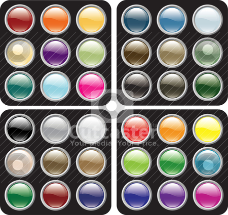 Blank Glossy Button Sets stock vector clipart, Glossy icon button sets ...