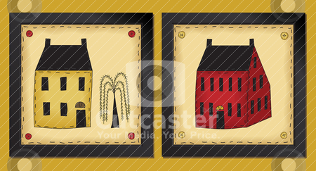 Two Little Folk Art Houses stock vector clipart, Two framed houses in primitive folk art style 