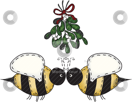 Folk Art Kissing Bees stock vector clipart, Merry Christmas kissing bees under mistletoe by Neeley Spotts