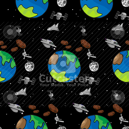 Stationery III stock vector clipart, A seamless offset pattern with space exploration themes by Eric Basir