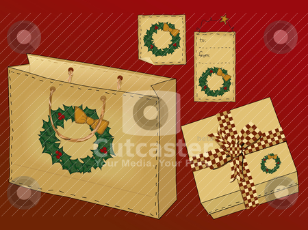 Primitive Folk Art Gift Set stock vector clipart, A useful collection of holiday gift icons including a gift bag with raffia handle, a gift box with a country gingham bow, and two different styles of tag. Collect them all!  Each item has been grouped individually.   File contains simple 10-step blends and linear gradients. by Neeley Spotts