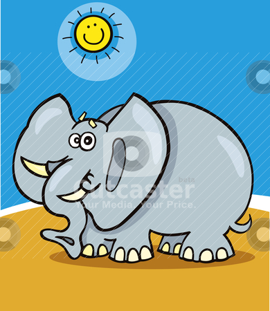 African elephant stock vector clipart, Cartoon Illustration of funny african elephant by Igor Zakowski