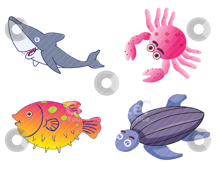 Assorted Cute Sea Creatures in Vector stock vector clipart, Assorted Cute Sea Creatures Illustration in Vector by Shamsul Ismin Tumin