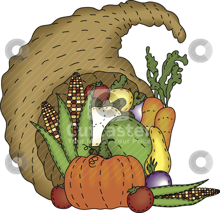 Folk Art Cornucopia stock vector clipart, A bountiful harvest in a folk art styled cornucopia by Neeley Spotts