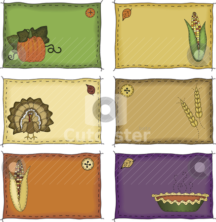 Thanksgiving Name Tags stock vector clipart, A collection of folk art styled autumn and Thanksgiving name tags or placecards by Neeley Spotts