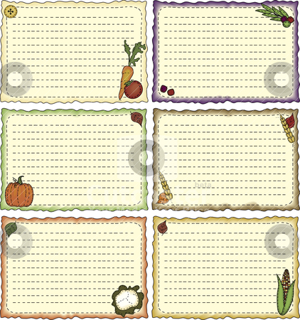 Harvest-theme Recipe Cards stock vector clipart, A set of folk-art styled recipe or note cards by Neeley Spotts