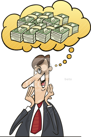 Businessman thinking about money stock vector clipart, Illustration of businessman thinking about money for investment by Igor Zakowski