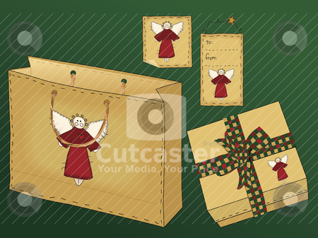 Primitive Folk Art Gift Set stock vector clipart, A useful collection of holiday gift icons including a gift bag with raffia handle, a gift box with a country gingham bow, and two different styles of tag. by Neeley Spotts