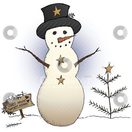 Primitive Snowman stock vector clipart, A country snowman and primitive Christmas tree in a holiday scene by Neeley Spotts