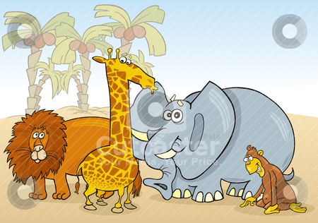 African animals stock vector clipart, Group of african animals illustration by Igor Zakowski