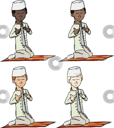 Muslim Boy Praying stock vector clipart, A cartoon of a young Muslim boy with fez making a supplication while sitting on a praying rug. Includes 4 versions in different skin and hair color. by Eric Basir