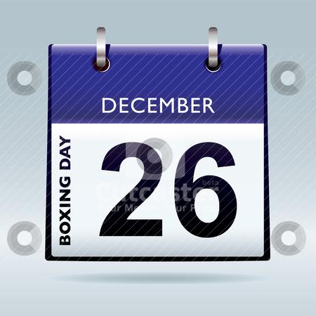Boxing day calendar blue stock vector clipart, Simple blue and white boxing day calendar icon by Michael Travers