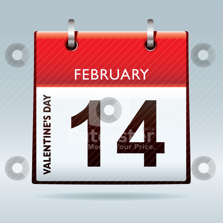 Valentines day calendar stock vector clipart, Red top calendar icon for valentines day on 14th February by Michael Travers