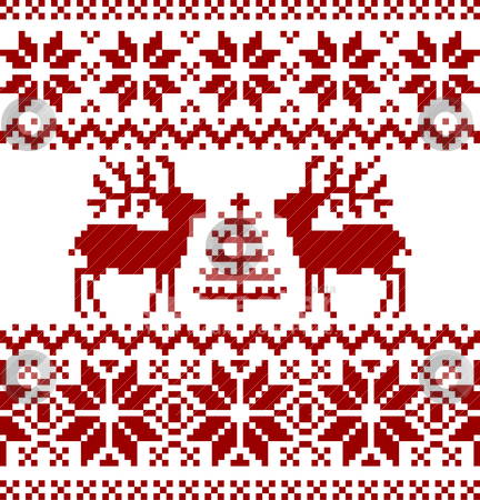 Christmas norwegian pattern stock vector clipart, Collection of christmas norwegian pattern, isolated on white background. by Ela Kwasniewski