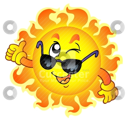 clip art sun with sunglasses. Cartoon winking Sun with