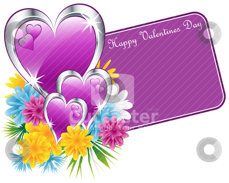 Valentine purple hearts and flowers stock vector clipart, Valentine purple and silver hearts, flowers and a happy valentines day gift tag. Isolated on white. Copy space for text. by toots77