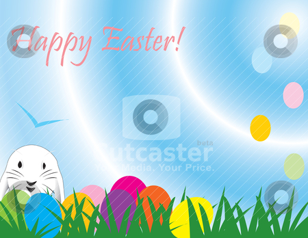 Cute Easter rabbit great for a quick card stock vector clipart, Cute Easter rabbit, great for a quick card, paper background or E-Card, fully vectorized, can be easily modified by Patrick Guenette