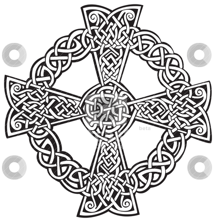 Celtic Cross stock vector clipart, An illustration of a Celtic cross in an abstract design, isolated on white background. by Patrick Guenette