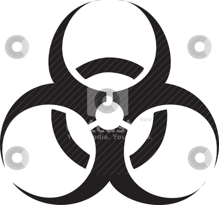 Black biohazard symbol stock vector clipart, Black biohazard symbol isolated against a white background. by Patrick Guenette