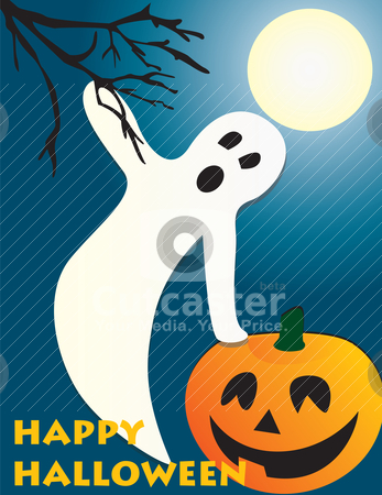 Halloween flying ghost and pumpkin scene stock vector clipart, Halloween flying ghost and pumpkin scene, full . Can be fully scaled. by Patrick Guenette