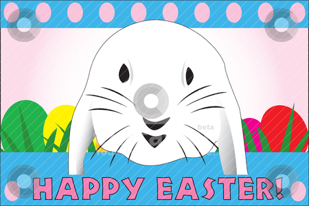 Cute Easter rabbit, great for a quick card stock vector clipart, Cute Easter rabbit, great for a quick card, paper background or E-Card, fully vectorized, can be easily modified by Patrick Guenette