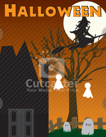 Halloween witch, haunted house scene stock vector clipart, Halloween witch and haunted house scene, full . Can be fully scaled. by Patrick Guenette
