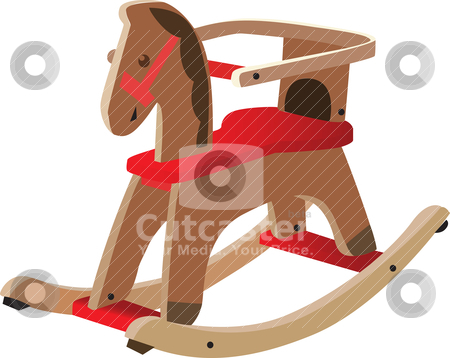 Red painted wooden horse stock vector clipart, Red painted wooden horse. Kid's toy, fully vectorized and scalable by Patrick Guenette