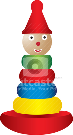 Stacking toy illustration stock vector clipart, An illustration of a kid's stacking toy. by Patrick Guenette