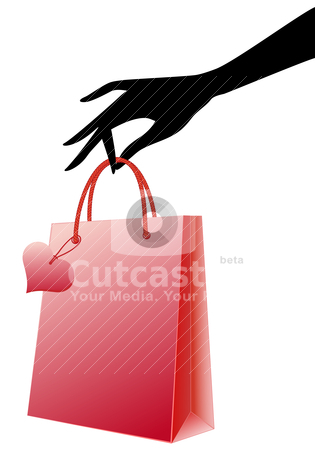 Hand with red shopping bag, vector stock vector clipart, Female hand holding red shopping bag, vector by Beata Kraus