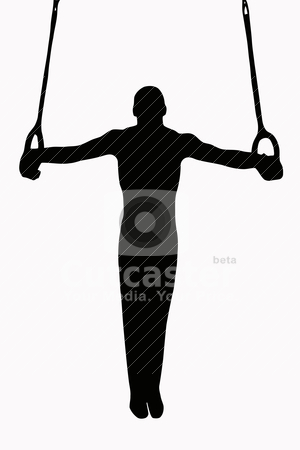 Sport Silhouette - Gymnast on Rings stock vector clipart, Sport Silhouette -Gymnast on rings with strieght body in horisontal hold by Snap2Art