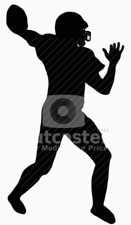 Sport Silhouette - American Football stock vector clipart, Sport Silhouette - American Football player making ready to throw pass by Snap2Art